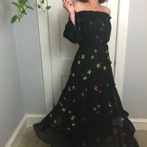 ROCOCO SAND Rainbow Star Maxi Boho Sequin Dress